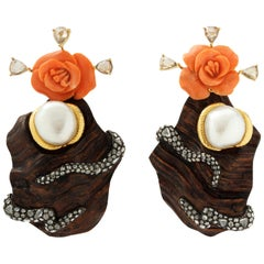 Carved Red Stone Liana Wood Diamonds Flower Earrings