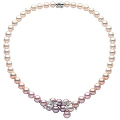 Yoko London Freshwater Pearl, Akoya Pearl and Diamond Necklace in 18 Karat Gold