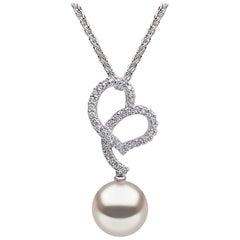 Yoko London Freshwater Pearl and Diamond Pendant, in 18 Karat White Gold