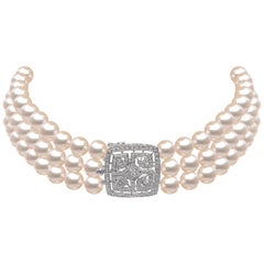 Yoko London Akoya Pearl and Diamond Choker Necklace, in 18 Karat White Gold