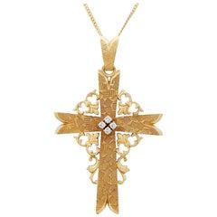 French Diamond and Yellow Gold Cross Pendant Circa 1940