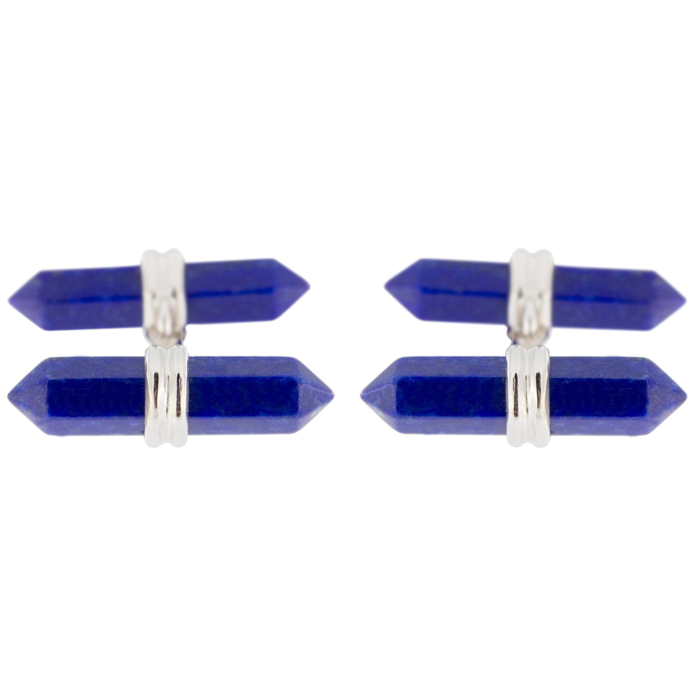 Jona Lapis Lazuli Prism Bar Sterling Silver Cufflinks