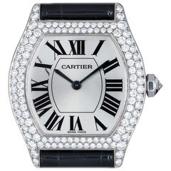 Cartier Tortue White Gold Satin Silver Dial Diamond WA507231 Manual Wind Watch