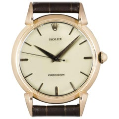 Rolex Precision Rose Gold Cream Enamel Dial Tear Drop Lugs Manual Wind Watch
