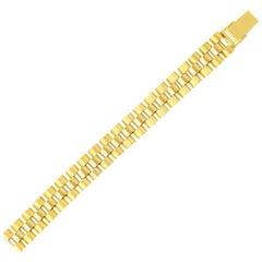 14 Karat Yellow Gold Satin Panther Bracelet