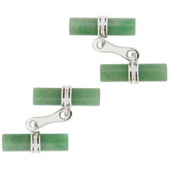 Jona Green Aventurine Cylinder Sterling Silver Cufflinks