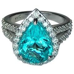 GIA Certified 4.73 Carat Paraiba Tourmaline Diamond Gold Heirloom Quality Ring