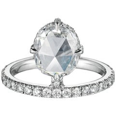 1.60 Carat Rose Cut Diamond Platinum Engagement Ring
