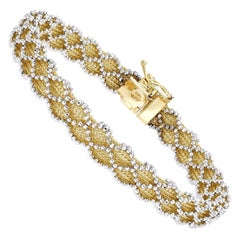 14 Karat Yellow Gold with White Gold Beading Bracelet