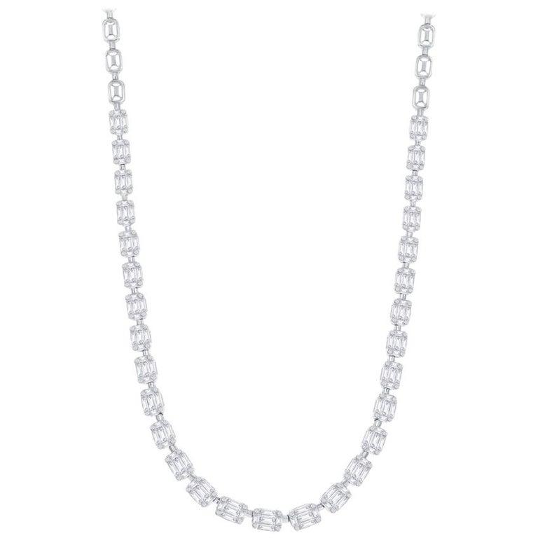 Emerald Cut Necklace 18 Karat For Sale