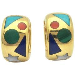 Asch Grossbardt Gemstone Inlay Huggie Earrings 18 Karat Gold