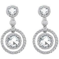 Roman Malakov, Rose Cut Diamond Halo Dangle Earrings