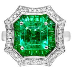 2.0 Carat Square Emerald Cut Baguette Diamond 14 Karat White Gold Cocktail Ring