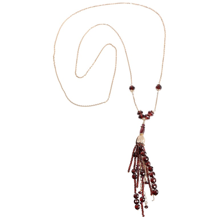 White Orchid Studio Drop Necklace Gold Chains, Bead Cap and Spacers with Garnet For Sale