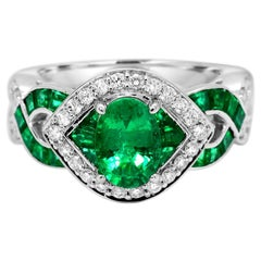 1.45 Total Carats Emerald & 0.30 Carat Diamond 14 Karat White Gold Cocktail Ring