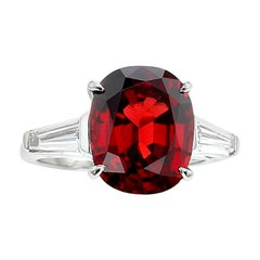 6 Carat Natural No Heat Burma Red Spinel and Diamond Three-Stone Platinum Ring