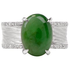 Jade Oval Cabochon Diamond Platinum Unisex Ring