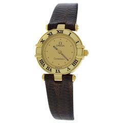 Authentic Lady's Omega Constellation Solid 18 Karat Yellow Gold Quartz Watch