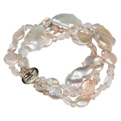 White Orchid Studio Bracelet 3 Strands of Pearls Oregon Sunstone Quartz Gold