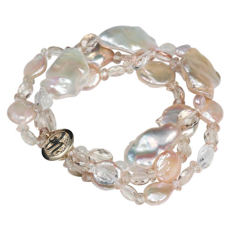 White Orchid Studio Three Strand Pearl Bracelet Oregon Sunstone Quartz Gold For Sale