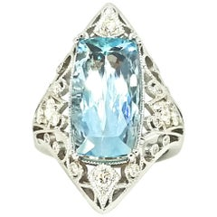 7.15 Carat Edwardian Cut Brazilian Aquamarine Diamond Filigree Cocktail Ring