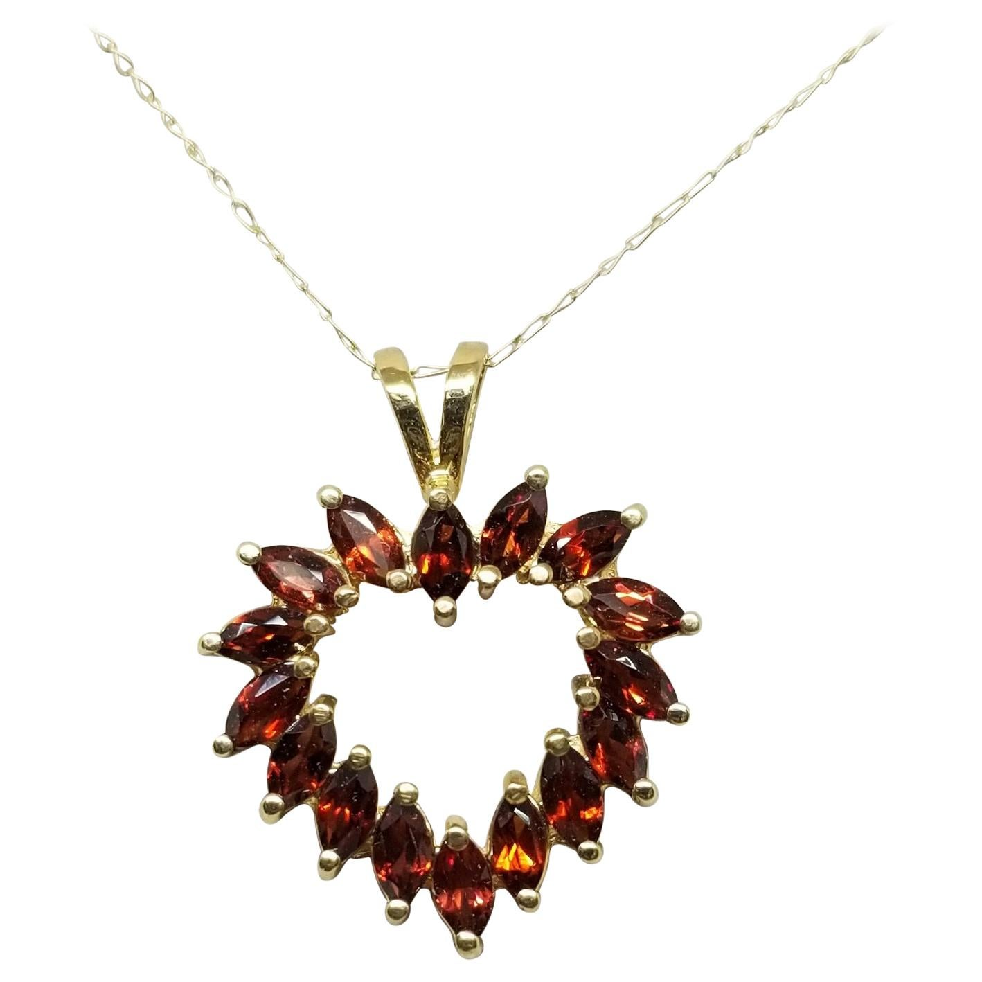 Garnet Marquise Cut Heart Pendant