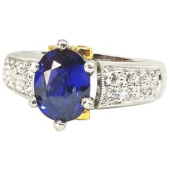1.48 Carat Blue Ceylon Sapphire Diamond Engagement or Right Hand Ring Platinum