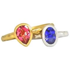 Stacking Rings Bezel Set Blue Sapphire Pink Tourmaline Hammered Matte Gold, Pair