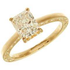 Peter Suchy GIA Certified 1.51 Carat Diamond Gold Solitaire Engagement Ring