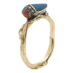 18k Yellow Gold Coral Real Scarab Wings Stackable Ring