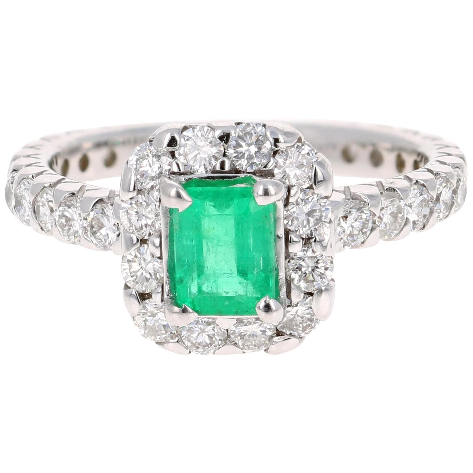 1.83 Carat Emerald Diamond 14 Karat White Gold Engagement Ring