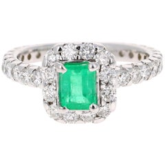 1.83 Carat Emerald Diamond 14 Karat White Gold Engagement Ring