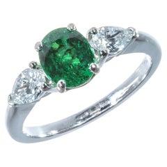 Peter Suchy 1.45 Carat Oval Tsavorite Garnet Diamond Platinum Engagement Ring