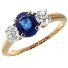 GIA Certified 1.25 Carat Sapphire Diamond Platinum Gold Engagement Ring