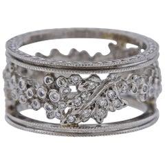 Cathy Waterman Platinum Diamond Wide Band Ring