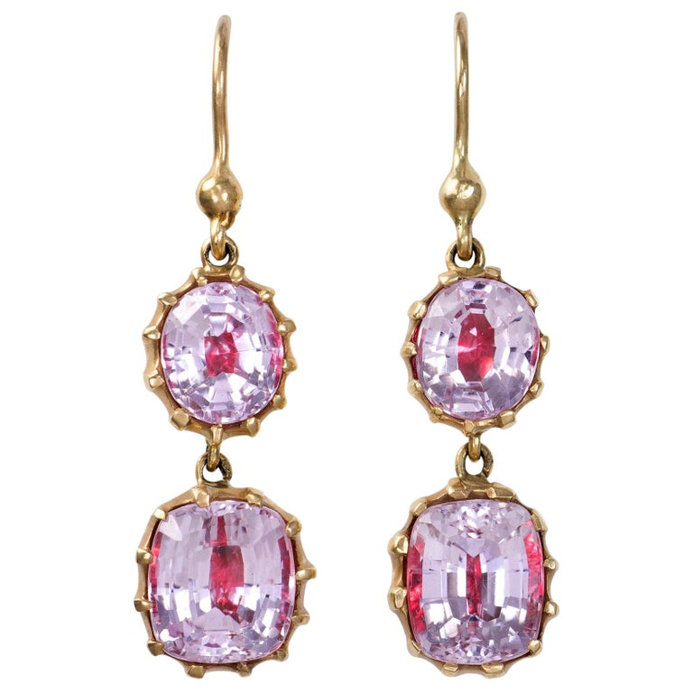 e2a3e72fb Antique Foil Backed Crystal and Gold Earrings For Sale at 1stdibs