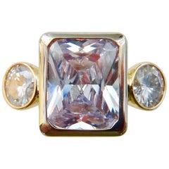 Michael Kneebone White Sapphire Three-Stone Leah Ring