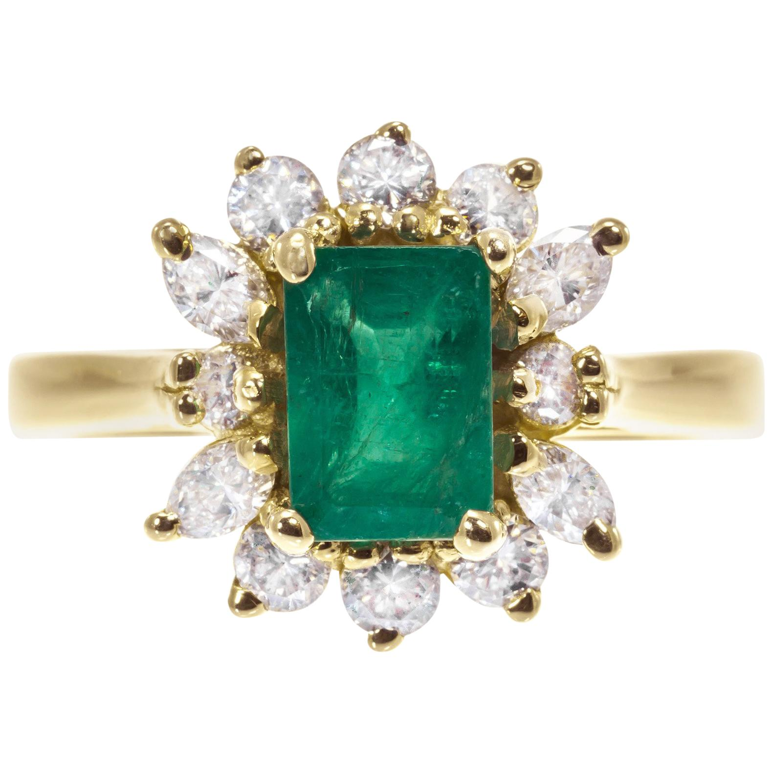 GIA Certified 1.04 Carat Emerald Diamond Halo Yellow Gold Engagement Ring