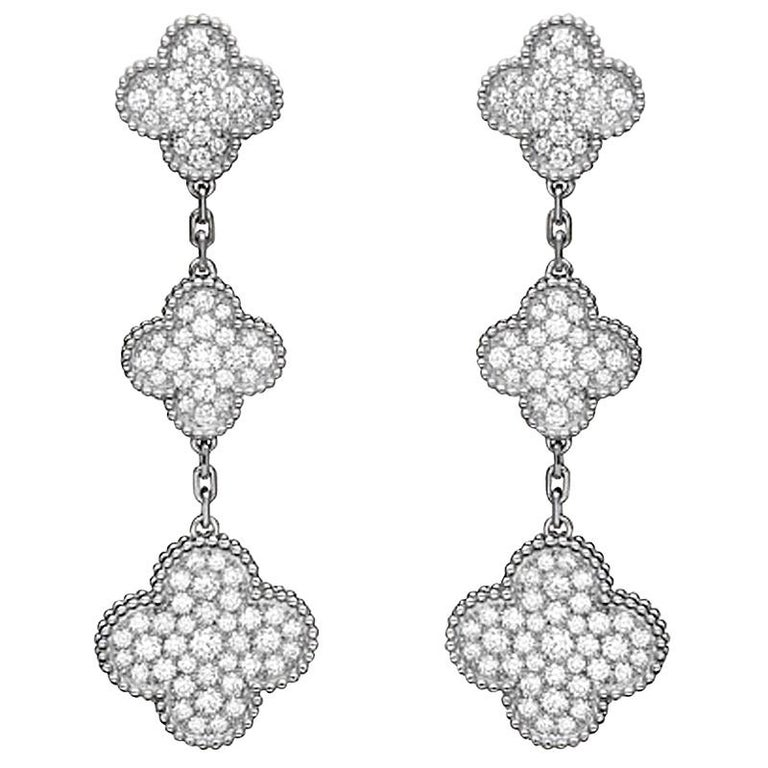 Van Cleef & Arpels Magic Alhambra Diamond 3 Clover Earrings