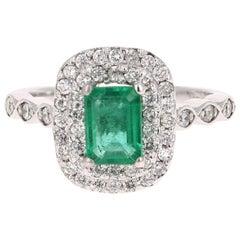 1.50 Carat Emerald Diamond White Gold Engagement Ring