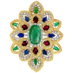 GIA Certified 11.90 Carat Emeralds Sapphire Ruby Diamond Gold Pendant Brooch