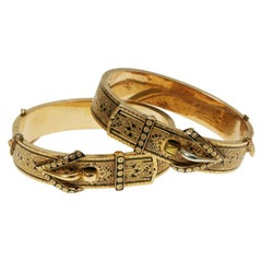 Pair of Victorian Enamel and Gold Buckle Bangles