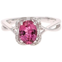 1.38 Carat Pink Tourmaline Diamond 14 Karat White Gold Ring