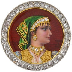 Plojoux Edwardian Rose Cut Diamond Guilloché Enameled Portrait Pin