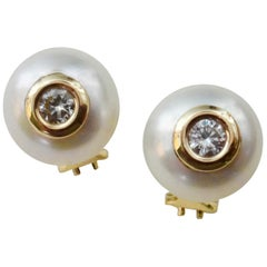 Michael Kneebone Button Pearl White Diamond Stud Earrings