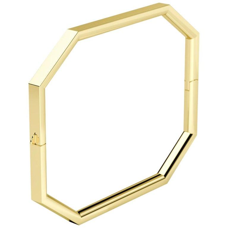 18 Karat Gold Octagon Bangle For Sale
