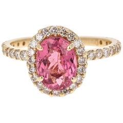 2.66 Carat Pink Tourmaline Diamond 14 Karat Yellow Gold Ring