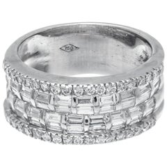 1.00 Carat Diamond 18 Karat White Gold Band Ring