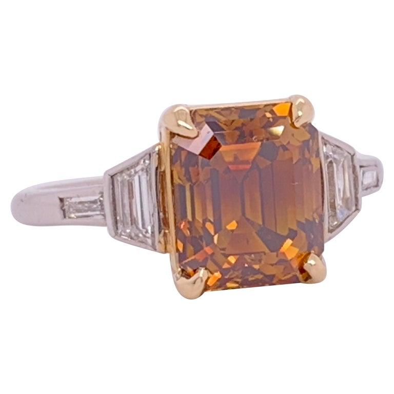 Platinum Natural Emerald Cut Diamond Ring GIA 3.37 Carat Fancy Deep Orange-Brown For Sale