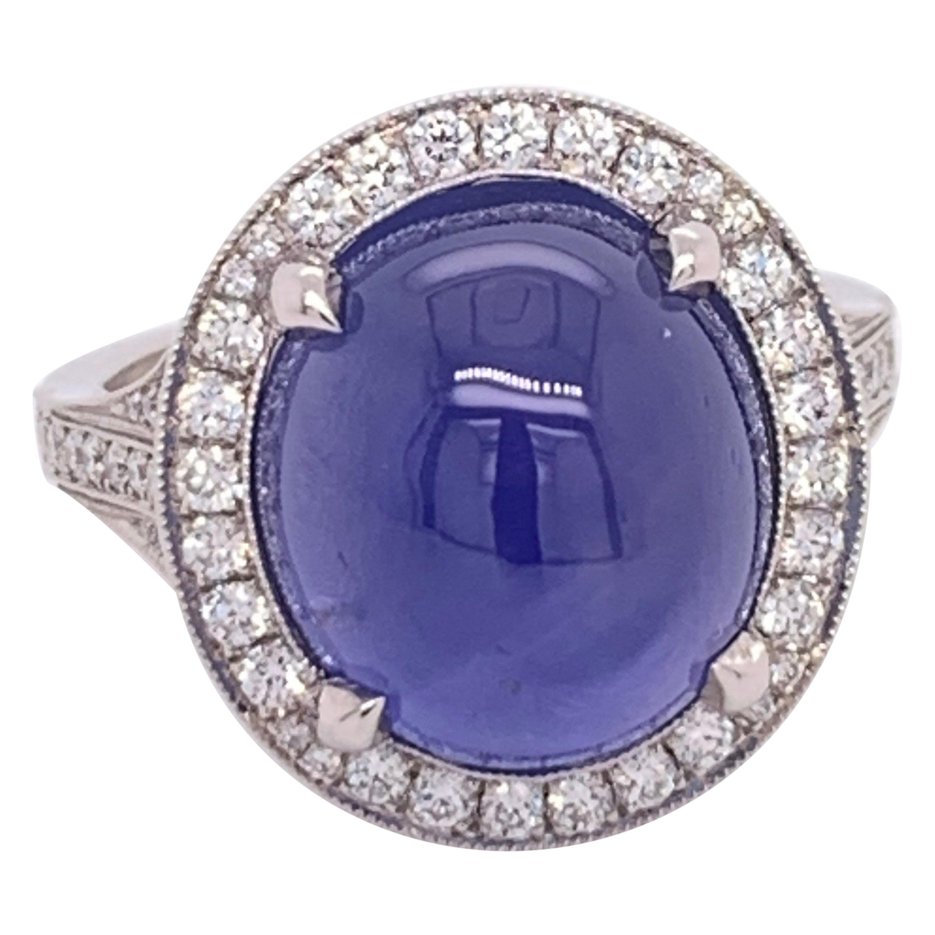 Platinum 10.80 Carat GIA Certified No Heat Blue Star Sapphire CAB & Diamond Ring